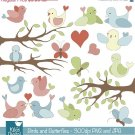 Birds ,  Butterflies Digital Clipart / Scrapbooking, card design, invitation