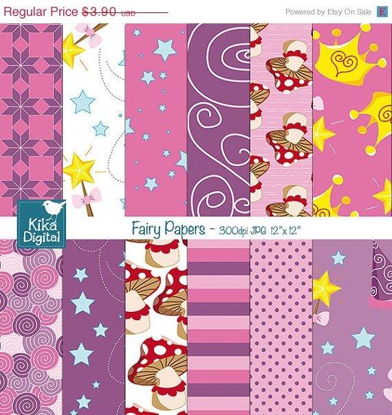 Fairy Digital PapersPrincess papersPink Girl Digital PapersFairy Tale papers