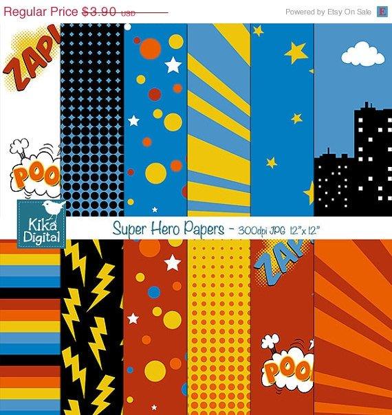 Super Hero Digital PapersSpeech Bubble Digital Scrapbook card designparty birthdaydecor
