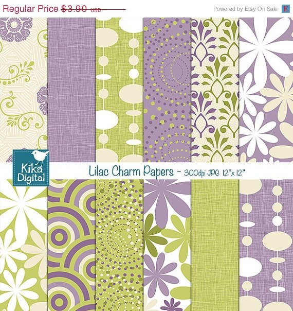Lav, er Grn Digital Papers - Lilac Scrapbook Papers - card design, stickers