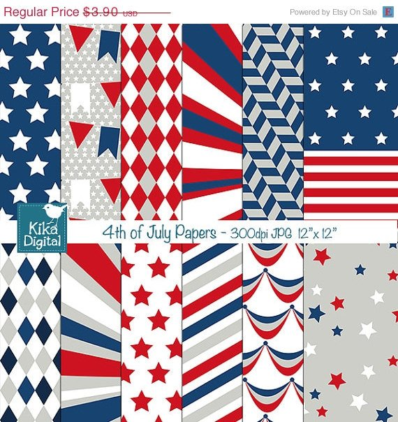 4th of July Digital Papers - Scrapbooking, card design, invitations, background
