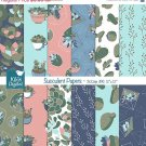 Succulent Digital Papers, Cactus , Terrarium Scrapbook Papers - card design