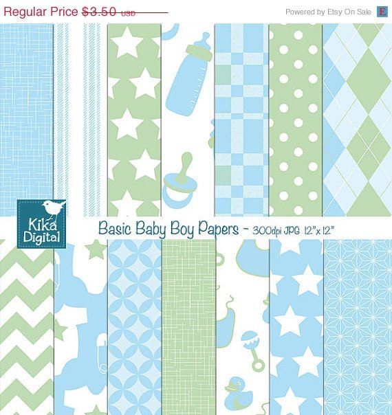 Basic Baby Boy Digital Papers - Digital Scrapbooking Papers - card design