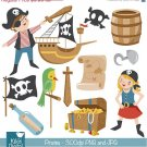 Pirates Clip Art - Pirate Scrapbooking , card design, invitations, stickers
