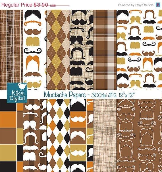 Mustache Digital Papers - Digital Scrapbooking Papers - card design, background