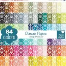 Damask Digital Papers-Rainbow Damask Papers-Damask papers-Huge Paper Pack
