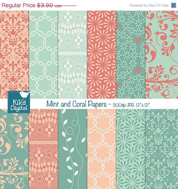 Mint Coral Digital Papers-Mint Peach Wedding Papers-Scrapbookingcard designo