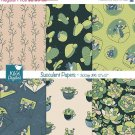 Succulent Digital Papers- Succulents , Cactus Paper Pack- Scrapbook, card design