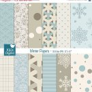 Winter Digital Papers-Digital papers light blue , warm grey-card design