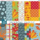 Under the Sea Digital Papers, cute sea animals scrapbook papers, bright colors