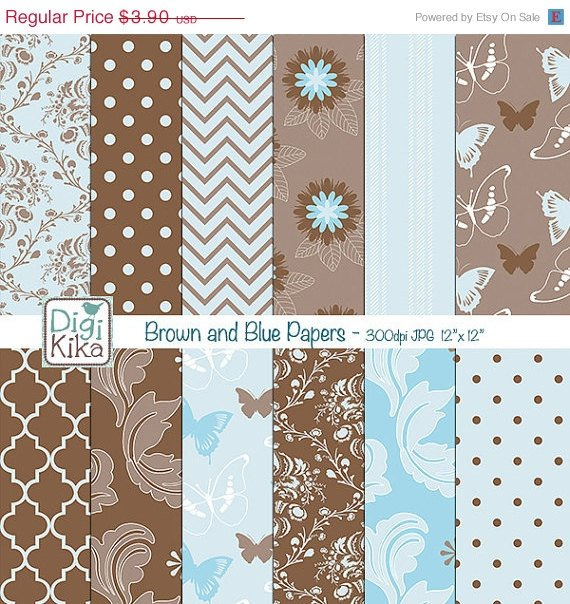 Blue ,Brw Digital Papers - Scrapbooking, background, card design, stickers