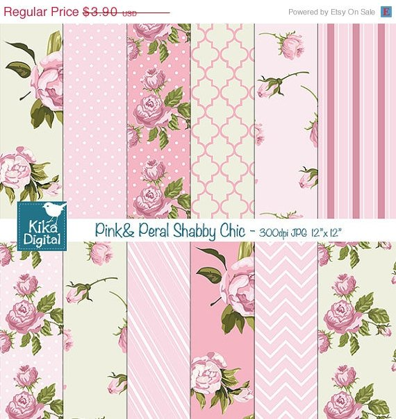 Pink , Pearl Shabby Chic Digital Papers-Digital Scrapbooking Papers-card design