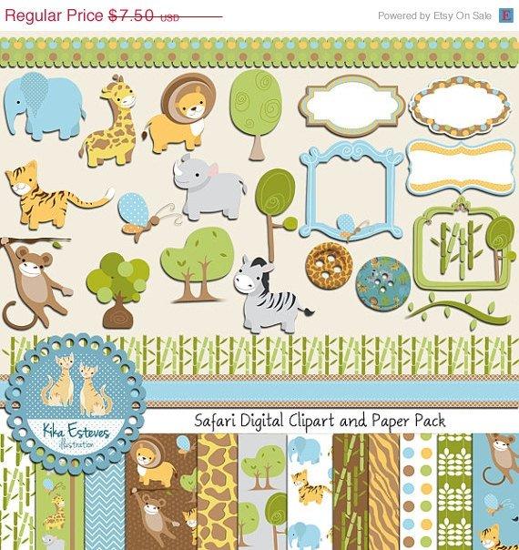 Safari Digital Clipart , Paper COMBO - Scrapbooking , card design, stickers