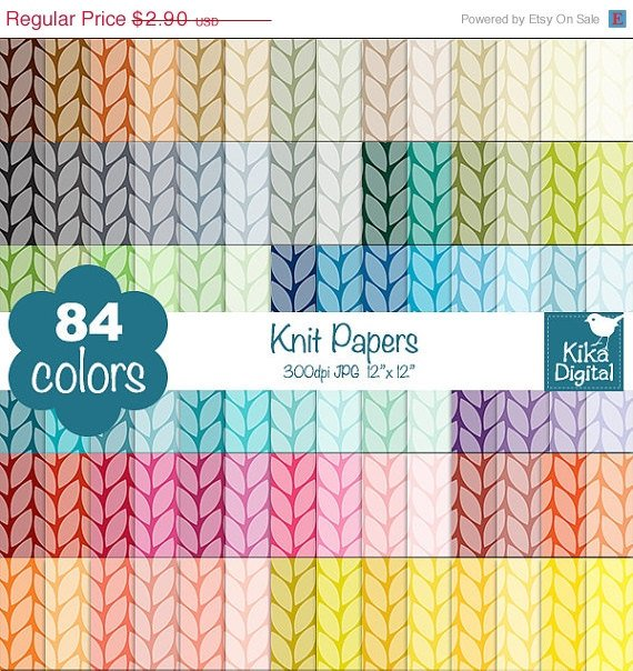 Knit Digital Papers - Rainbow Knitted Scrapbook Papers - Huge Paper Pack