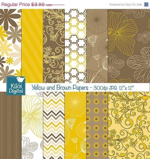 Yellow ,Brw Digital Papers - Scrapbooking, card design, stickers, background O