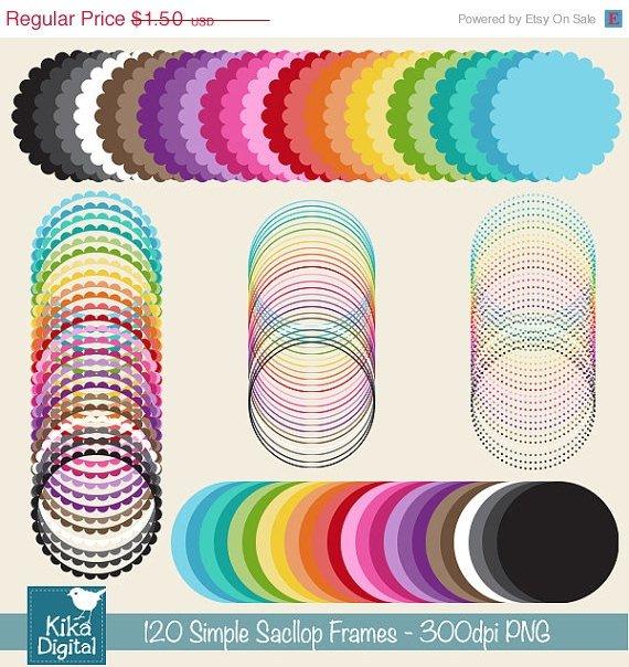 120 Simple Scop Digital Frames - Mix , Match - card design, invitations