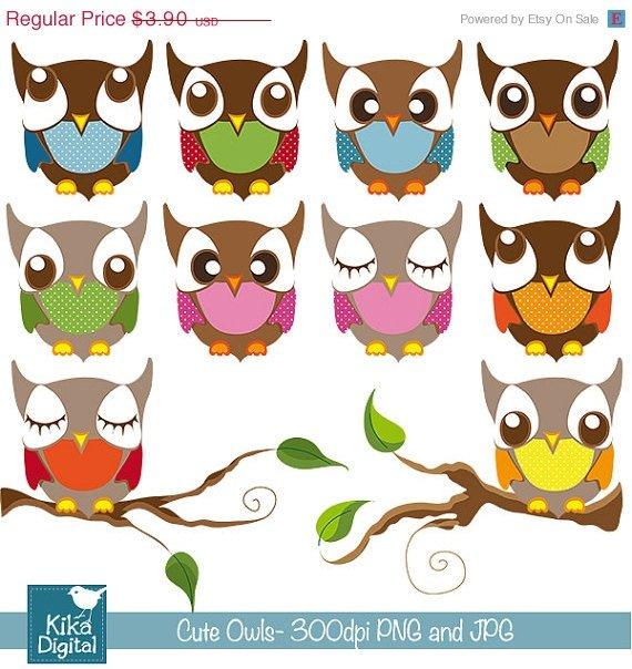 Cute Owls - Digital Clipart / Scrapbooking colorful - card design, stickers