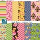 Garden Digital Papers - Digital Scrapbooking Papers - card design, background