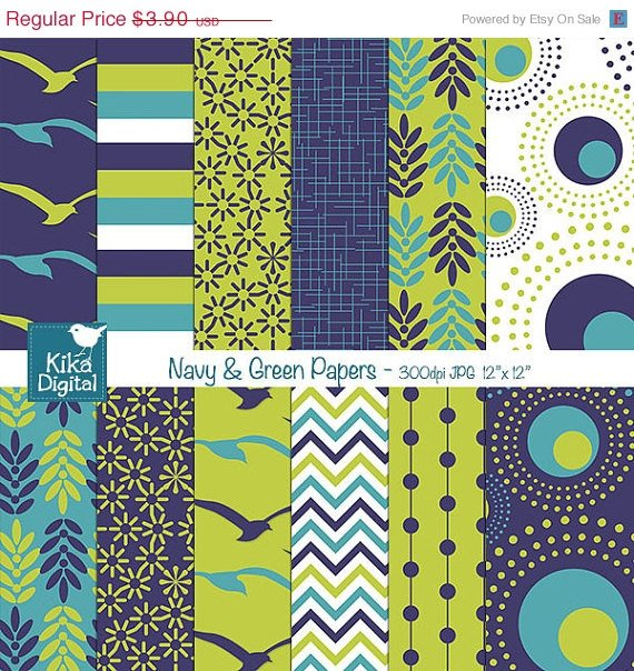 Navy , Grn Digital Papers - Scrapbooking, card design, stickers, background