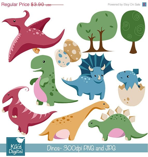 Baby Dinosaur - Digital Clip art / Scrapbook - card design, stickers