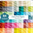 Zebra Print Digital Papers-Rainbow Animal Print papers-Zebra Papers-Huge Paper