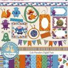 Little Monsters Digital Clipart , Paper Pack - Scrapbooking , card design
