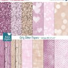 Girly Glitter Digital PapersPink Glitter PapersGirl ColorsWood Texture-decorscrapbook