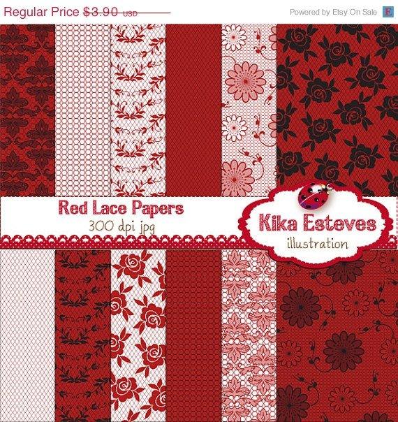 Red Lace Digital Papers - Digital Scrapbook Papers - card design, backgroundA