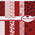 Red Lace Digital Papers - Digital Scrapbook Papers - card design, backgroundA