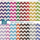 Glitter Chevron Papers - Digital Scrapbooking Papers - card design, stickersA