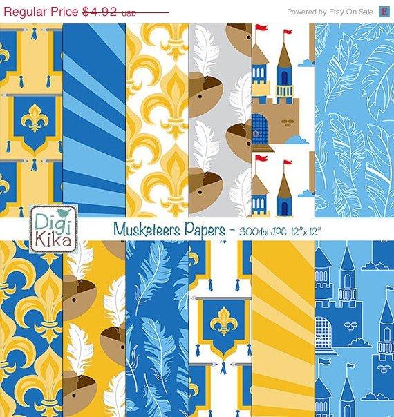 Musketeers Digital Papers-3 Musketeers Tileable/Seamless Pattern-website  print