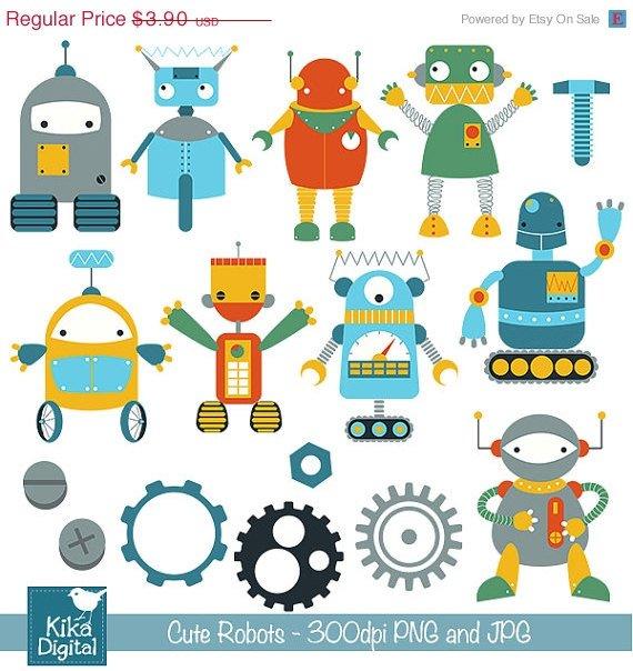 Cute Robots Digital Clipart - Scrapbooking , card design, invitations, stickers