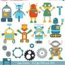 Cute Robots Digital Clipart - Scrapbooking , card design, invitations, stickers