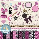 Rock Star Girl Digital Clipart , Paper COMBO - Scrapbooking , card design