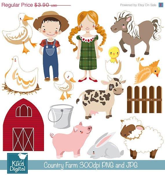 Farm Digital Clipart - Country Clip Art - Scrapbooking , card design, stickers
