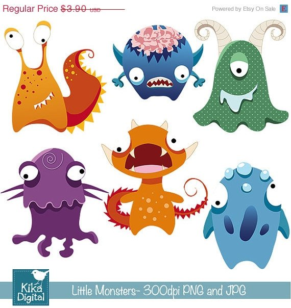 Little Monsters-Digital Clipart/Scrapbooking colorful-card designstickersweb de