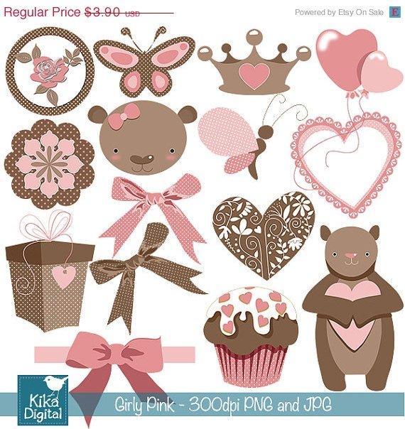 Pink Teddy Bear Digital Clipart- Girl Clip art- Scrapbook, card design, stickers