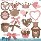Pink Teddy Bear Digital Clipart- Girl Clip art- Scrapbook, card design, stickers