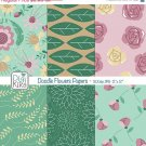 Doodle Flowers II Digital Papers - Floral Paper Pack - Scrapbook, card design