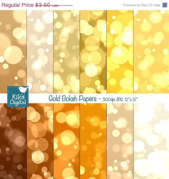 Gold Bokeh Digital Papers, Bokeh Scrapbook Papers - card design, background
