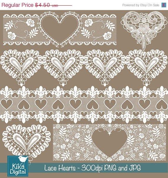 Heart Lace Borders - Digital Clipart / Scrapbooking - card design, invitations
