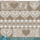 Heart Lace Borders - Digital Clipart / Scrapbooking - card design, invitations