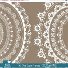 Oval Lace Frames - Digital Clipart / Scrapbooking - card design, invitations