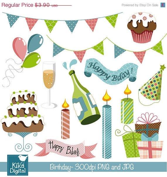 Colorful Birthday - Digital Scrapbooking Clipart - card design, invitations