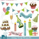 Colorful Birthday - Digital Scrapbooking Clipart - card design, invitations