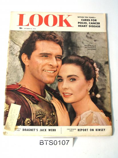 LOOK magazine 1953 Richard Burton, JFK, Jack Webb