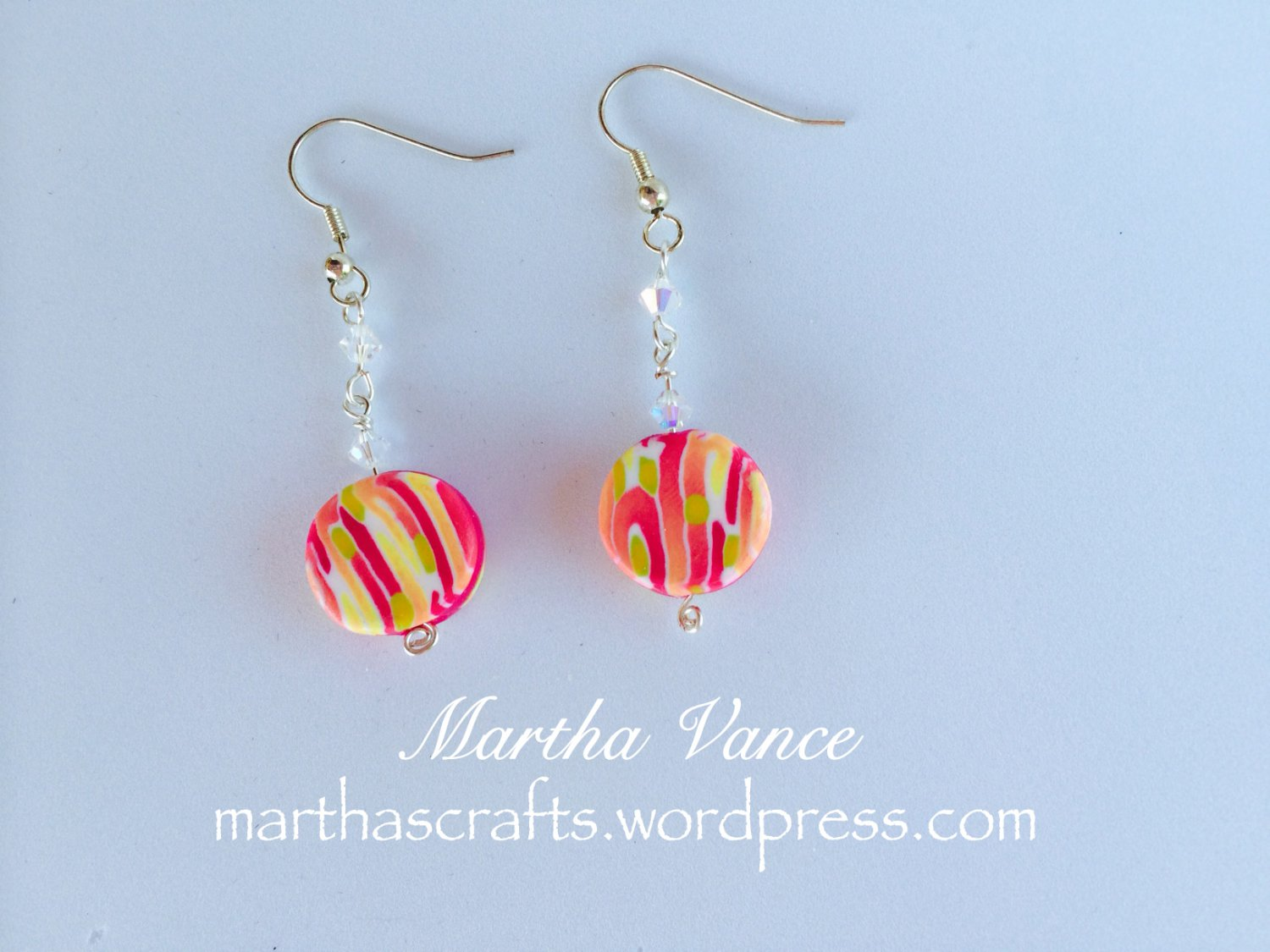 Dangling candy stripped earrings