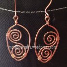 Wirewrapped Copper swirls dangling earrings
