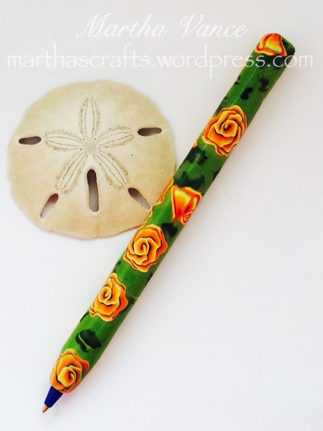 Orange Roses Polymer Clay Pen