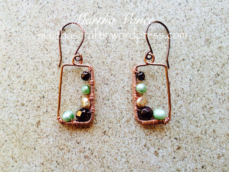 Wirewrapped Copper Frame Earrings
